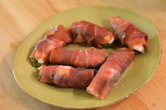 Prosciutto {Wrapped} Goat Cheese {Stuffed} Jalapeño Poppers