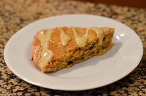 Peach & Dried Blueberry Scones + White Chocolate Glaze