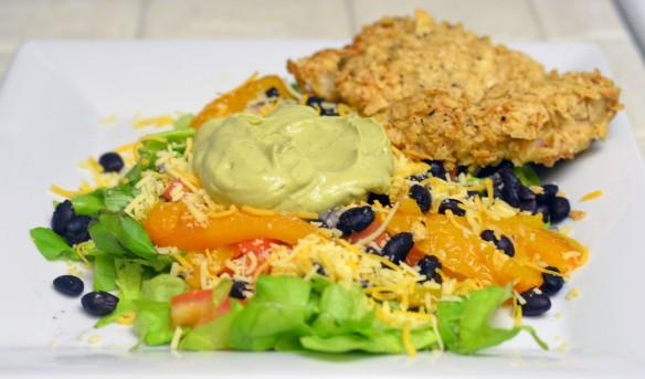 Tortilla Chip Crusted Chicken Taco Salad with Avocado Chipotle Dressing