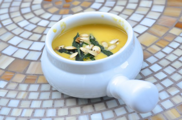 Creamy Amaretto Pumpkin Soup with Fried Sage